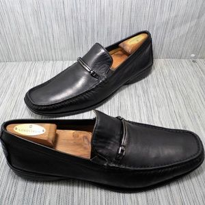 Bruno Magli Moc Toe Horsebit Black Loafers Sz 10M